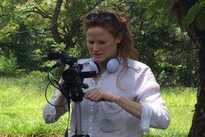 Georgie Weedon filming in the field