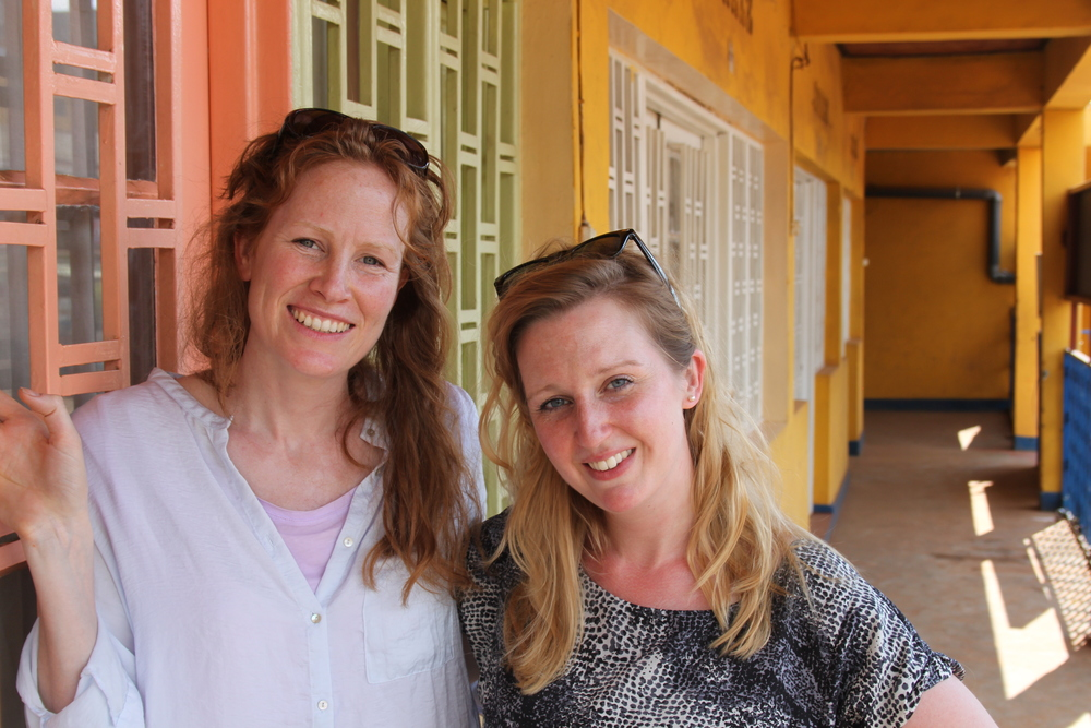 Co Founders of  Project Ariadne , Georgie Weedon and Susannah Tresilian outside the Mashirika Theatre Company, Kigali Rwanda 2014