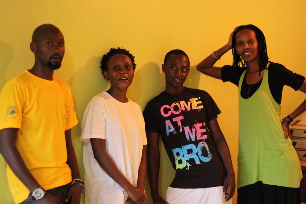 Hope Azeda (far right) with some actors from her Mashirika Theatre and Media Company, Kigali 2014