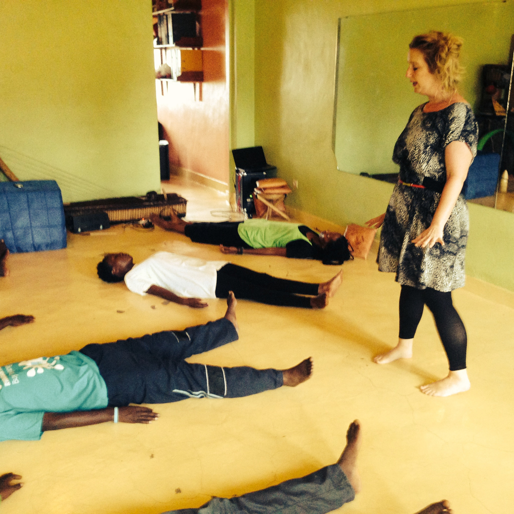 British theatre director and CoFounder of Project Ariadne, Susannah Treslilan leading a workshop at Hope Azeda's Mashirika, Kigali 2014