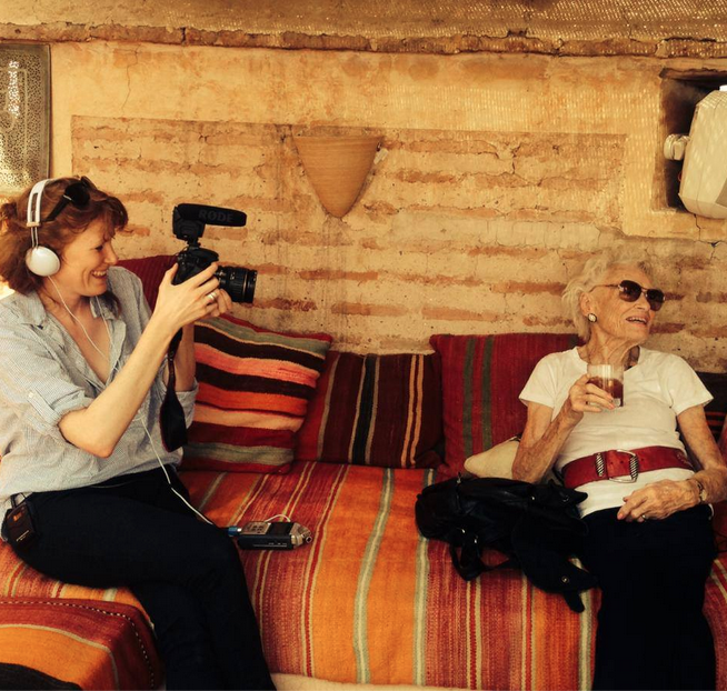 Behind the scenes: Georgie Weedon filming Eve Branson at Riad el Fenn, Marrakech, 2014