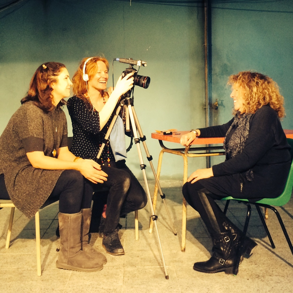 Filmmakers Maya Sanbar and Georgie Weedon, interviewing the Royal Court's Elyse Dodgson March 2015