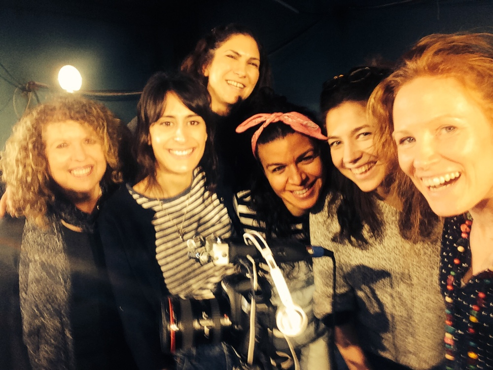 L-R Royal Court's Elyse Dodgson, actress Shereen Martin, filmmaker Maya Sanbar, actress Sirin Saba, theatre director Caitlin Mcleod and filmmaker Georgie Weedon at the Royal Court London on the stage of FIREWORKS March 2015