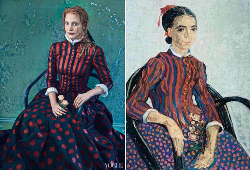 US Vogue Annie Leibowitz Jessica Chastain Grace Coddington art editorial La Mousmé Vincent van Gogh
