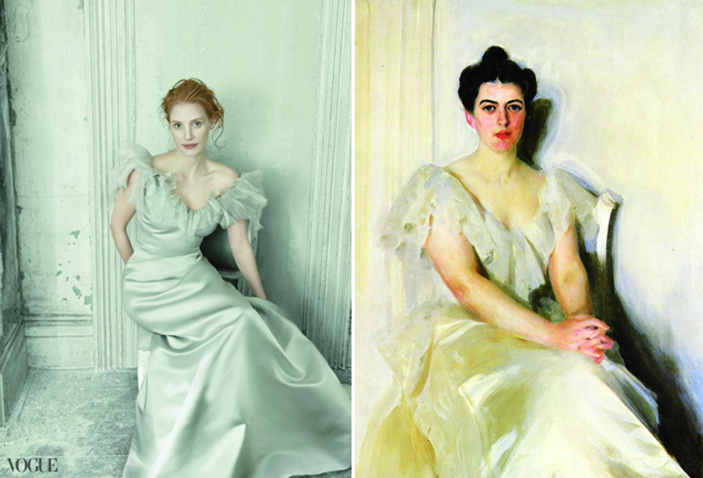 US Vogue Annie Leibowitz Jessica Chastain Grace Coddington art editorial Anders Zorn's 1899 portrait of Frances Folsom Cleveland
