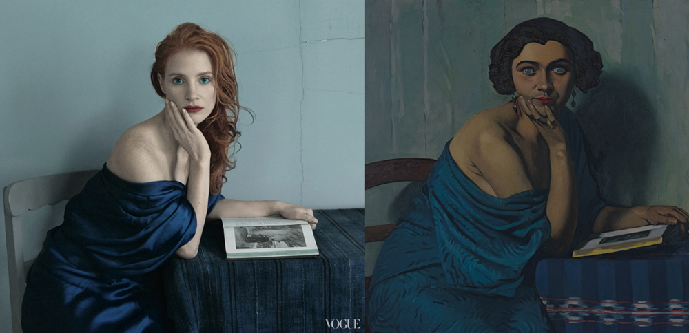 US Vogue Annie Leibowitz Jessica Chastain Grace Coddington art editorial Félix Vallotton's 1924 painting Le Retour de la Mer