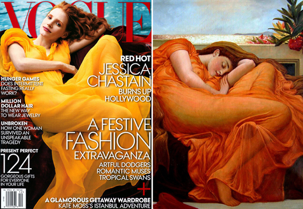 US Vogue Annie Leibowitz Jessica Chastain Grace Coddington art editorial Flaming June by Sir Frederic Leighton