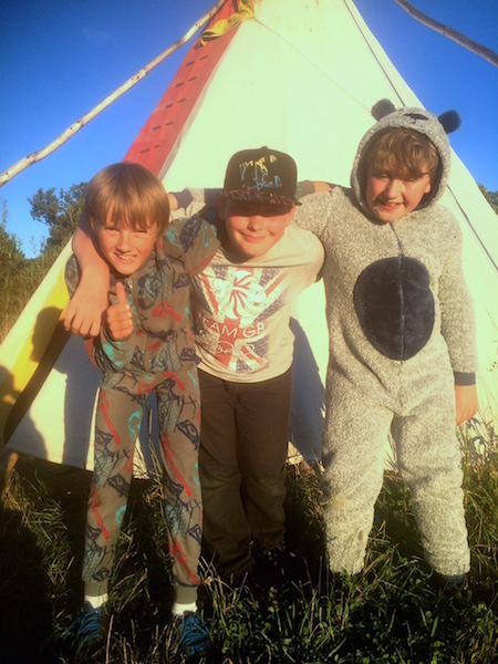 some of the boys got a little overexcited at the prospect of sleeping in a tipi and got into their onesies ready for bed mid afternoon!