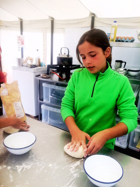 preparing the pizza dough