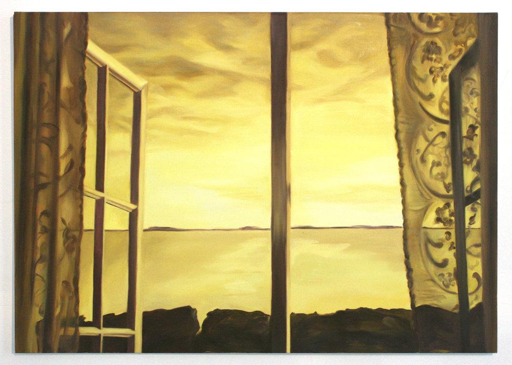 Sarah Kurz, Yellow Sea, 2016, oil on linen, 28 x 40 inches