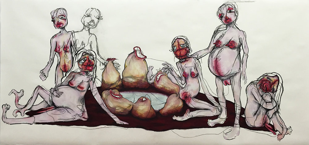 """60"""" x 125"""" Charcoal/Pastel on paper 2016"""