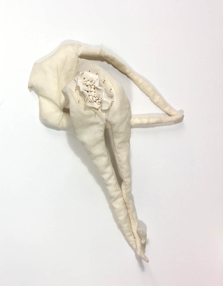 "Muslin, pins, clay, cotton 14"" x 5"" x 4"" 2017"