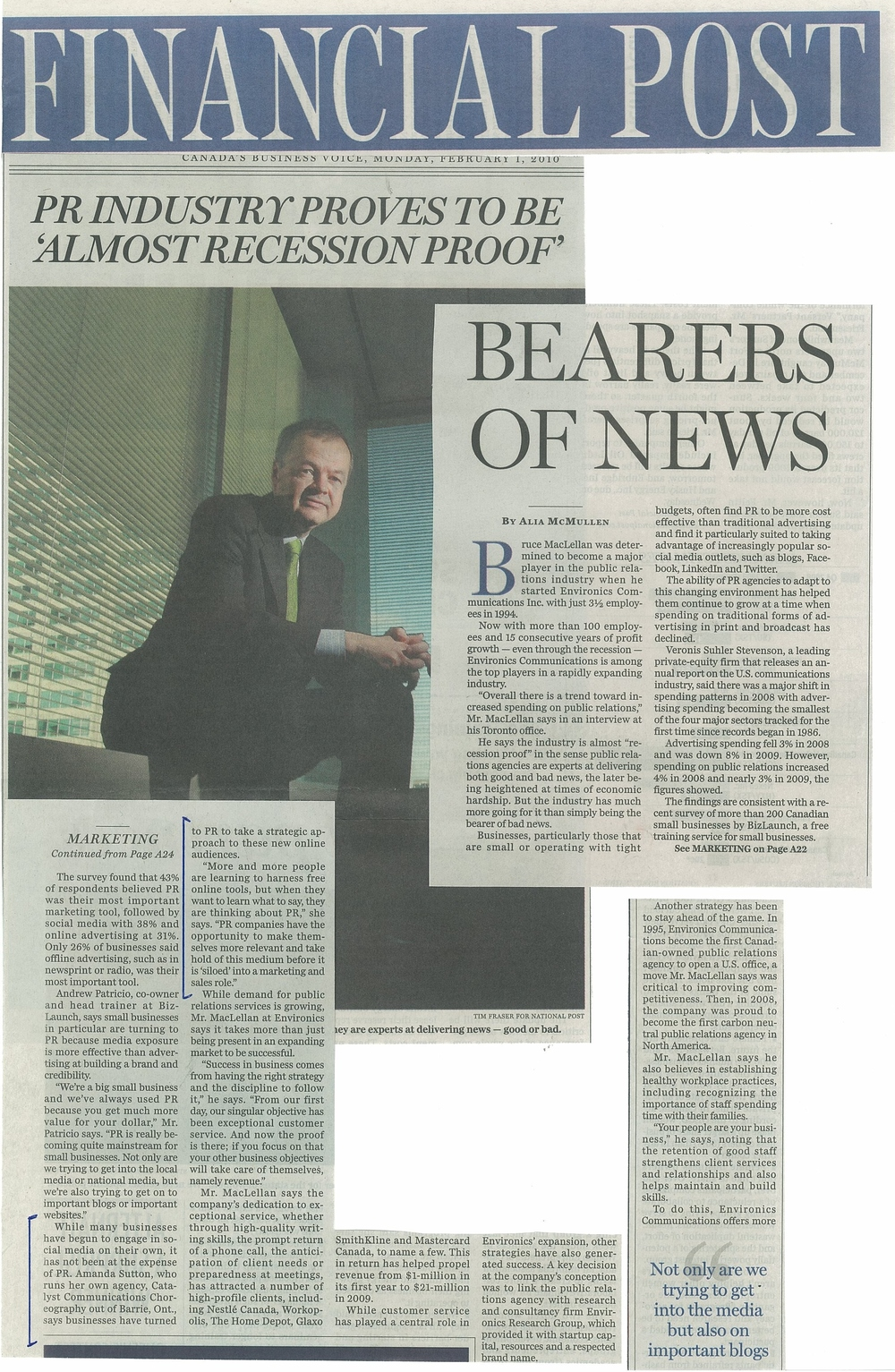 CATALYST cc commenting in National Post article on the state of PR