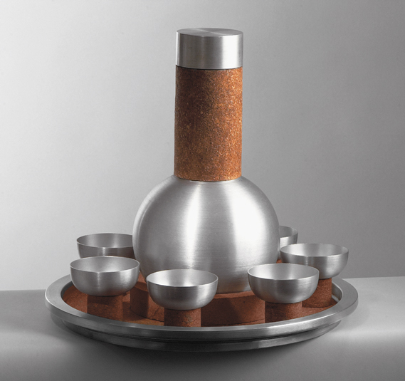 Spun Aluminum and Cork Cocktail Set, 1930