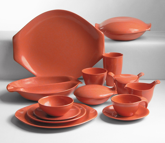 Residential Line of Plastic Tableware in Salmon, 1953