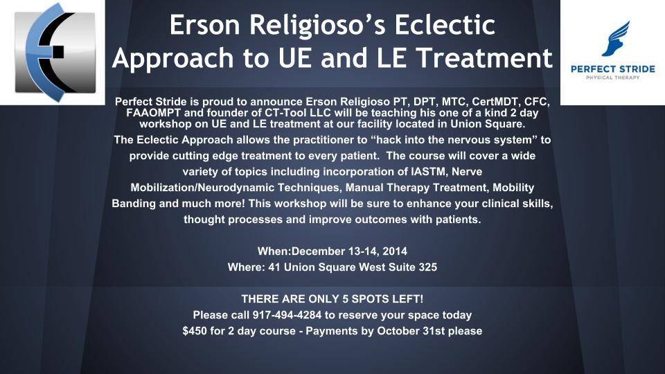 Erson Religioso's Eclectic Approach to UE and LE Treatment at Perfect Stride PT, located in Union Square