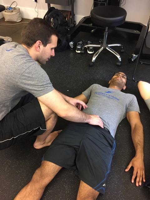 "Breathing is so important for rehab and performance progressions.  Here we are learning how to ""breathe through the pelvis""."