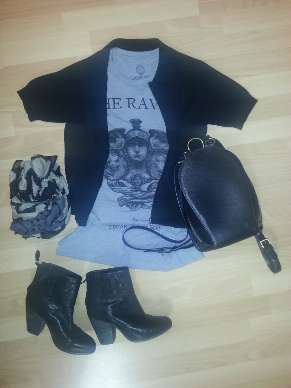 Rag and Bone boots, Out of Print tee The Raven, Louis Vuitton black Epi backpack, black short sleeved cardigan, animal print grey, black, taupe scarf