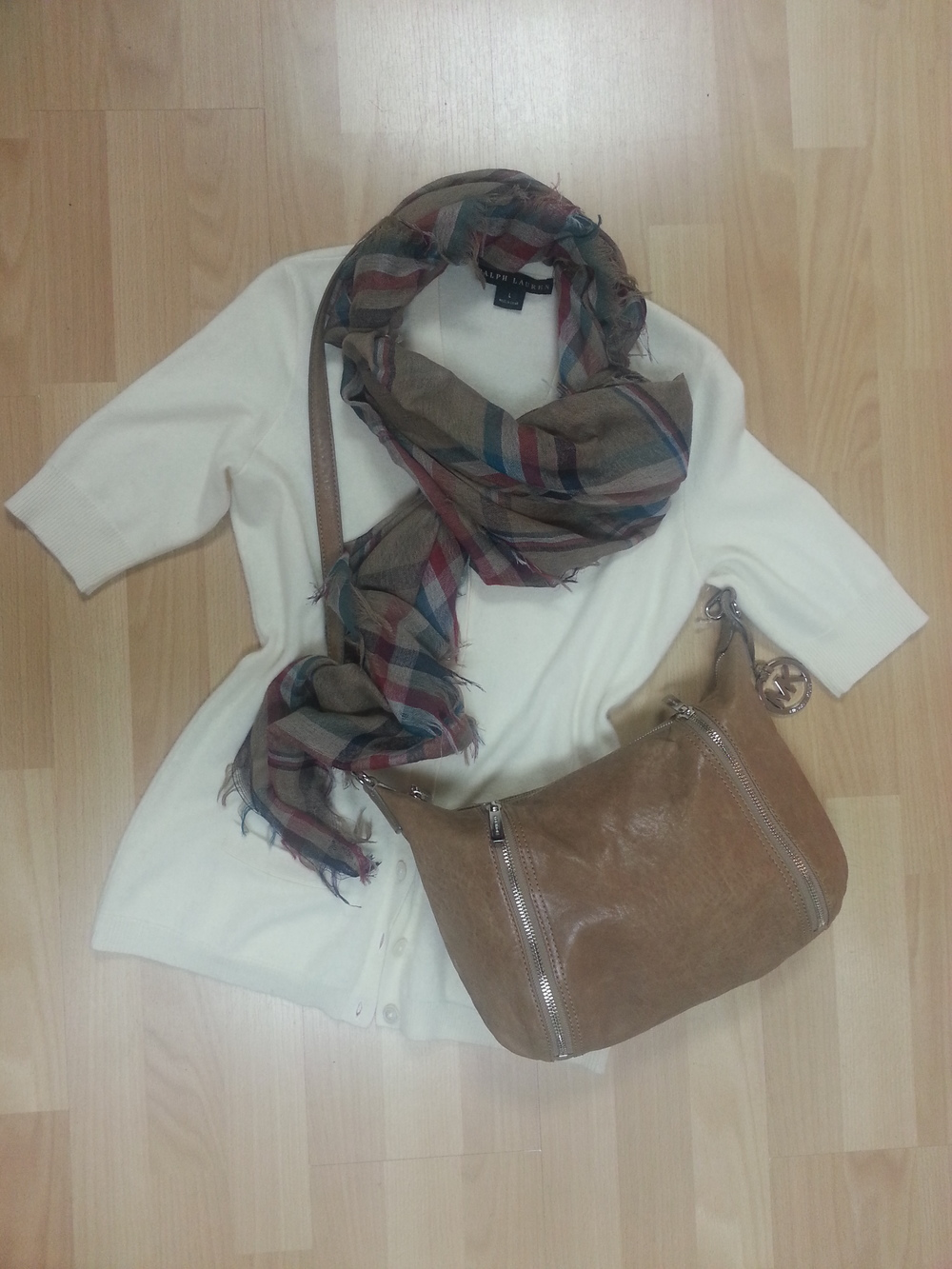 Ivory cashmere short sleeved cardigan Ralph Lauren Black Label, plaid scarf, Kors cross body tan bag