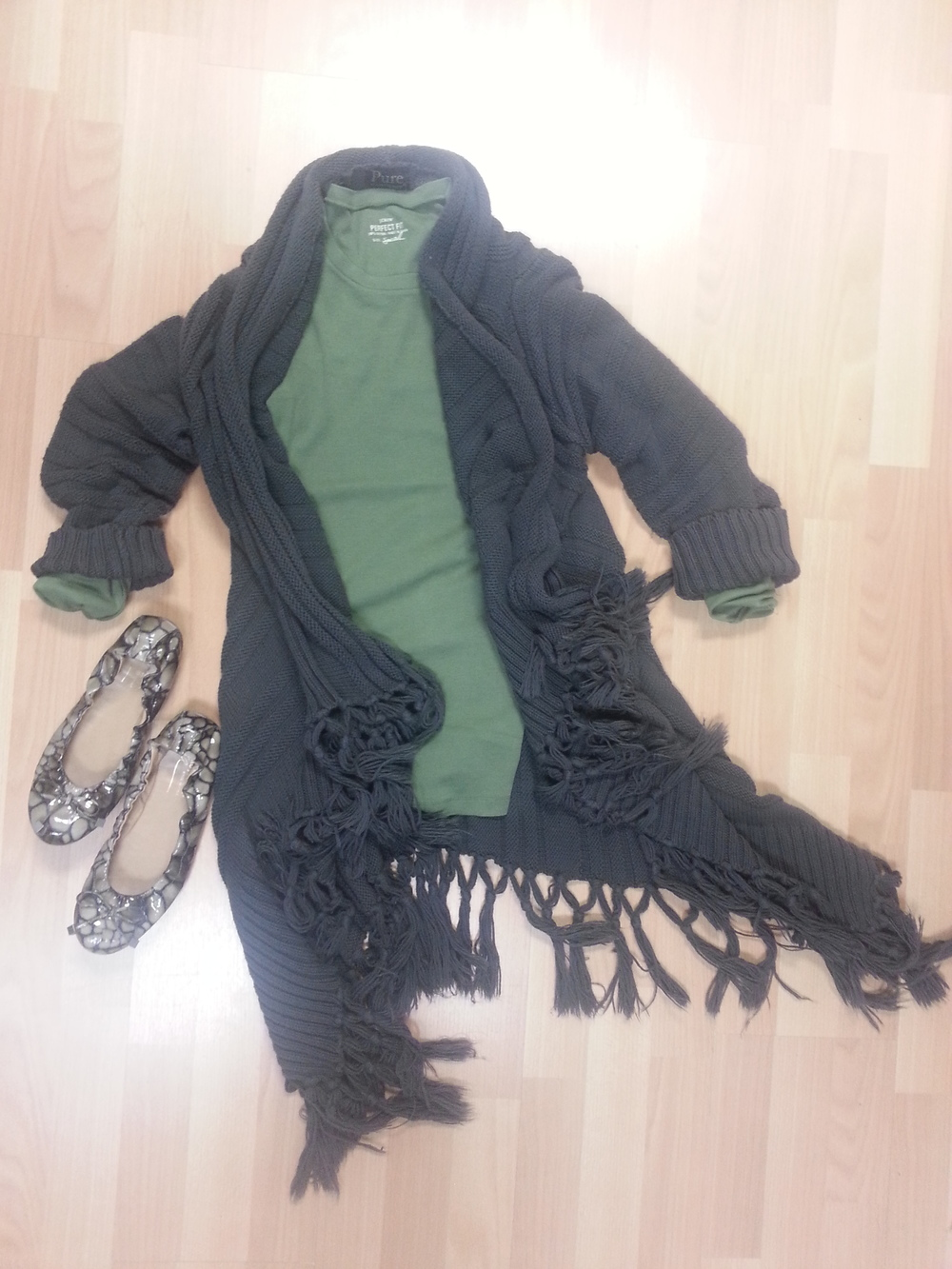 Donald Pliner patent flats, fringed cardigan long sweater, olive J. Crew tee