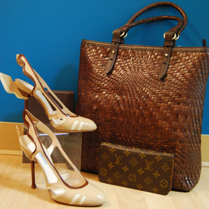"Prada ""Flame"" heels size 9.5 $365.50; Cole Haan Woven tote brand new $199.50; Louis Vuitton wallet $325.50"