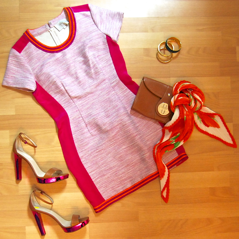 Madison Marcus dress size small $79.50; Coach bangle $32.50; J Crew bangle $19.50; gold tone bangle $16.50; Kors heels size 10 $89.50; Kate Spade clutch $55.50; Hermes pleated scarf $299.50