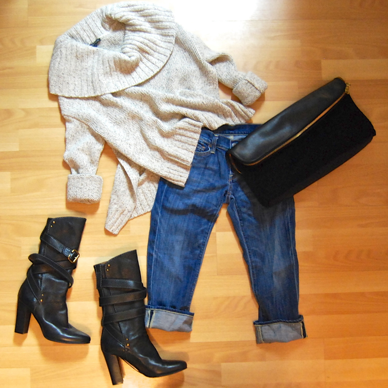 Eileen Fisher cashmere sweater size XS $130.50; Citizens of Humanity jeans size 25 $48.50; Chloe boots size 9 $505.50; Philip Lim shearling foldover clutch $265.50