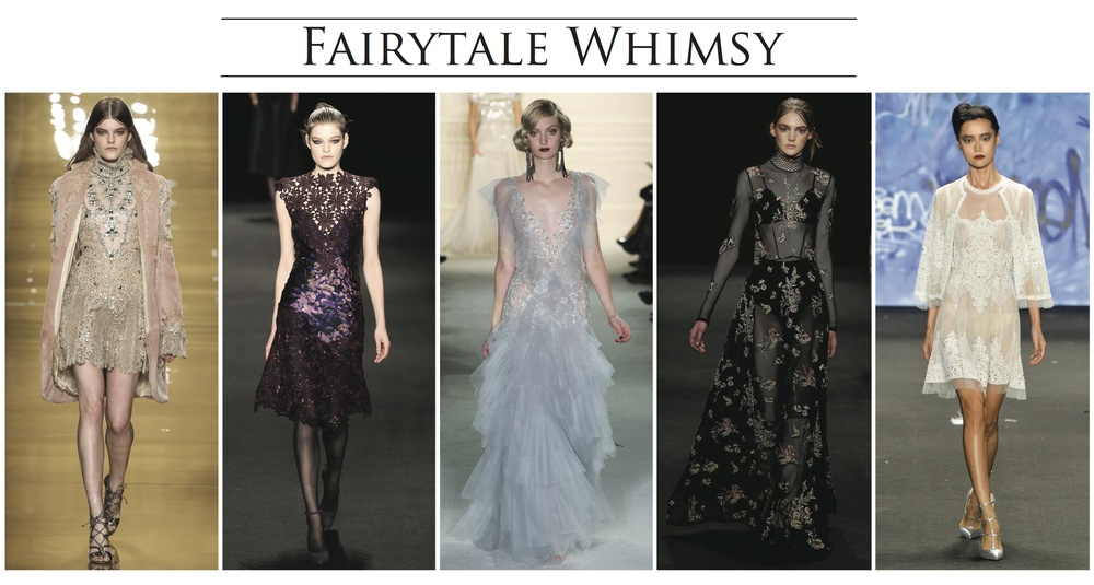 From left:  Reem Acra, Monique Lhullier, Marchesa, Vivenne Tam, Naeem Kham
