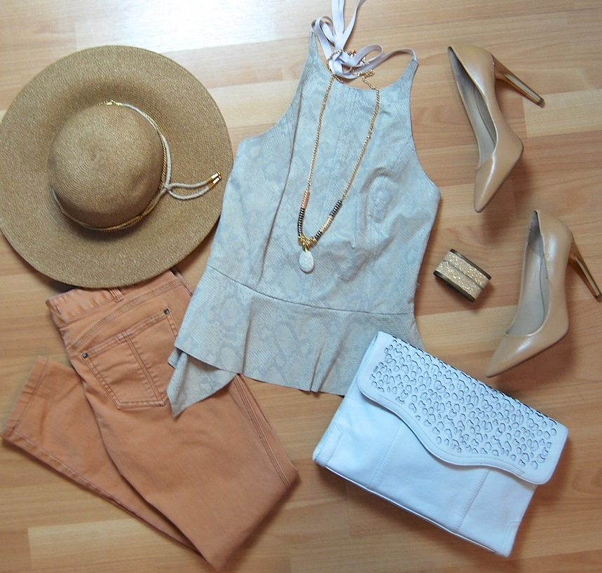 Rebecca Taylor halter top, Free People jeans size 28, Rebecca Minkoff clutch, Michael Kors heels size 9 1/2, Eugenia Kim hat, metallic stingray cuff
