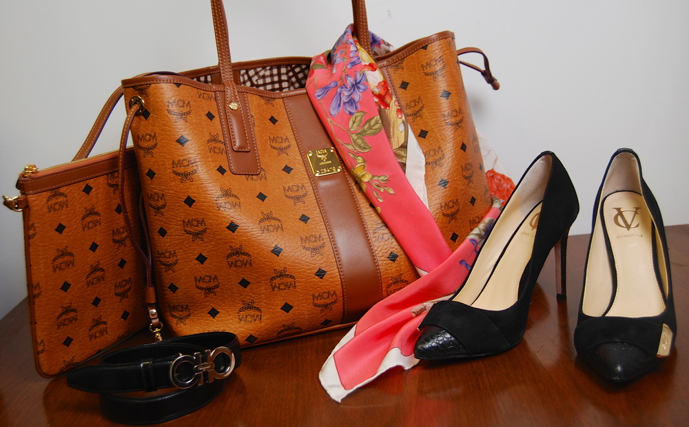 MCM tote w/ attached case $325.50, Valentino silk scarf $65.50, Vince Camuto pumps size 7 1/2 $55.50, Ferragamo belt $48.50