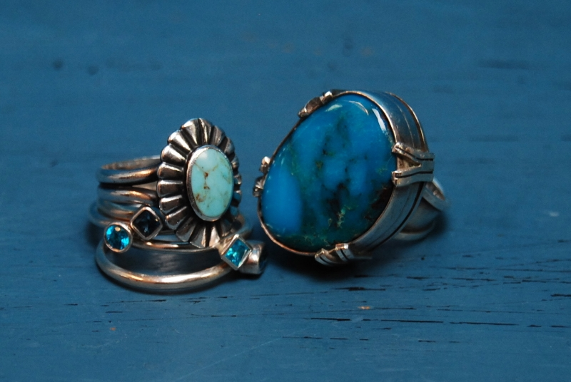 Sterling and turquoise rings $25.50 & $55.50. 4 piece sterling ring set $43.50