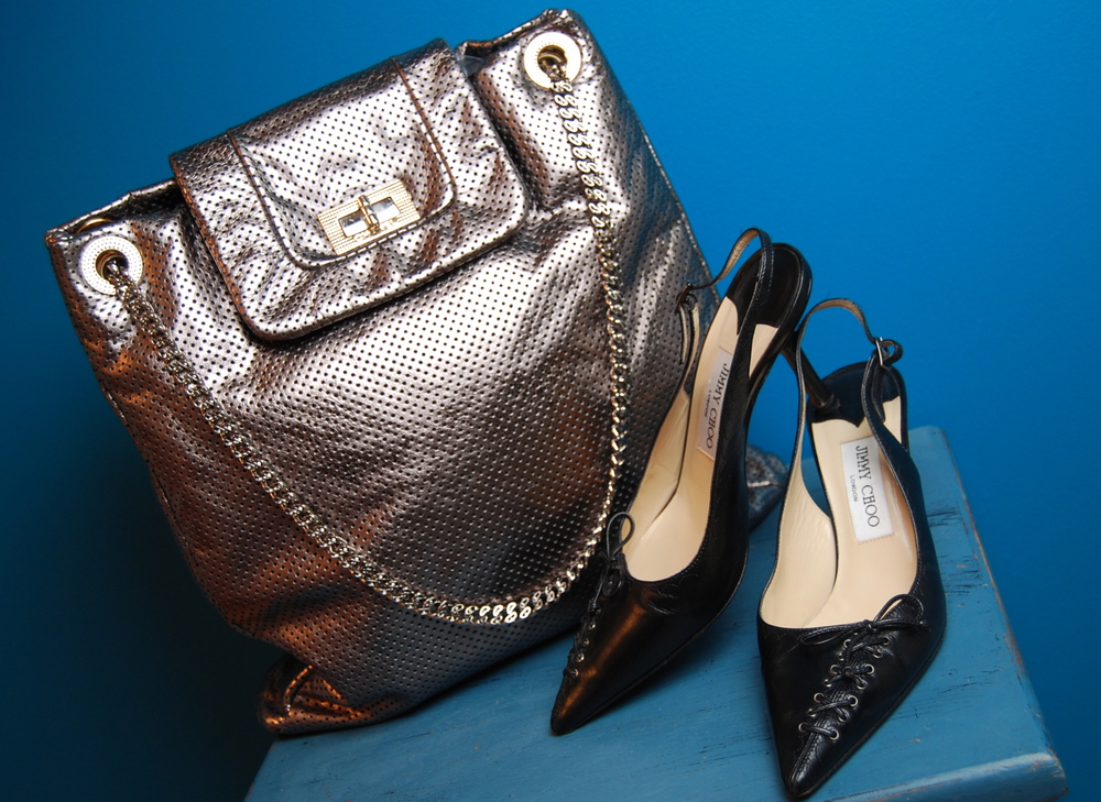 "Chanel silver leather ""Drill"" purse $1,805 (retail $2,700), Jimmy Choo slingback heels size 7 1/2 $85.50"