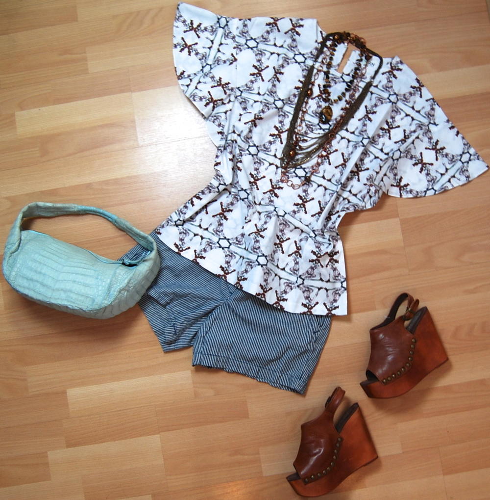 Chloe for Born Free top size xl $110.50, J Crew shorts size 4 $28.50, Jeffrey Campbell wedges size 8 $48.50, Nancy Gonzalez purse $185.50, assorted necklaces $16.50 - $48.50