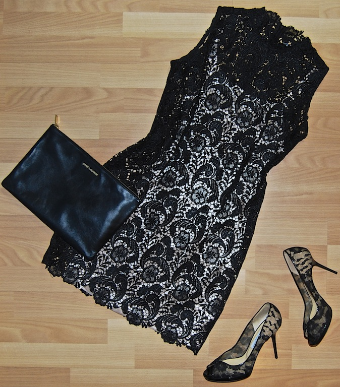 Lace dress size M $75.50, Jimmy Choo lace heels size 8 1/2 $225.50, Saint Laurent clutch $335.50