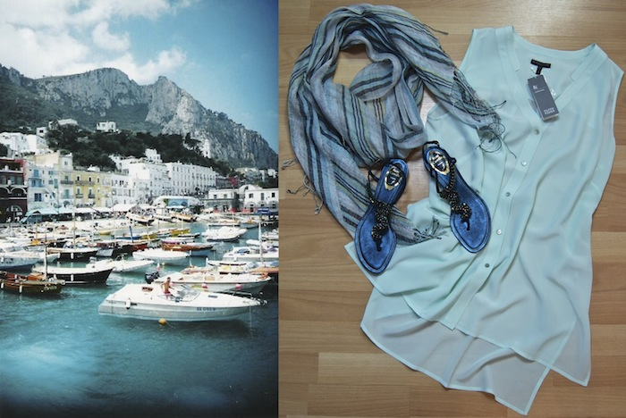 Left: Naples, Italy. Right: Eileen Fisher silk tunic 1x $65.50, striped scarf $28.50, Rene Caovilla sandals size 8 1/2 $435.50