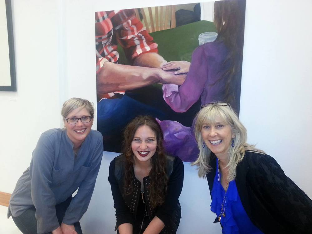 This is at an exhibit with one of my paintings called Unspoken Language - Rhiana, Kiersten and Christina