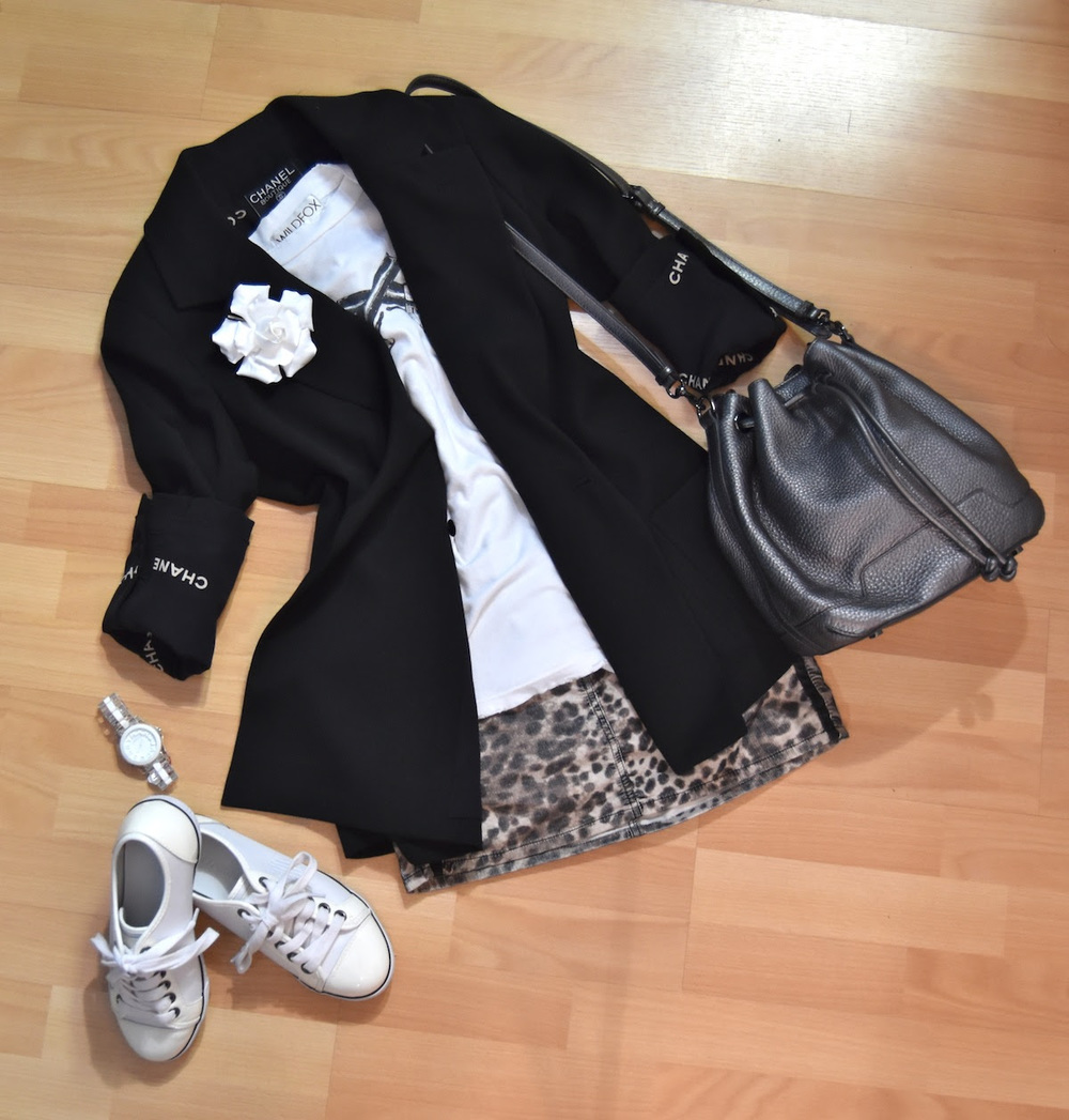 Chanel jacket, Chanel pin, Wildfox tee, Isabel Marant skirt, Emporio Armani sneakers, Marc by Marc Jacobs watch
