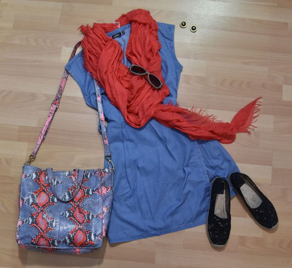 Kate Spade Saturday dress, Donna Karan scarf, Tory Burch purse, Tory Burch espadrilles, Linda Farrow sunglasses, Chanel earrings available  here