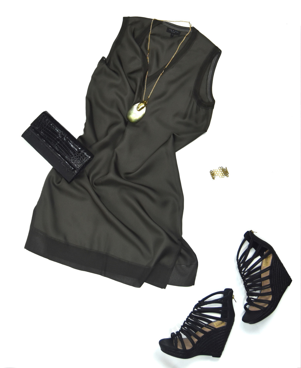 Rag & Bone dress, Dolce Vita Wedges, Nancy Gonzalez clutch, Alexis Bittar necklace