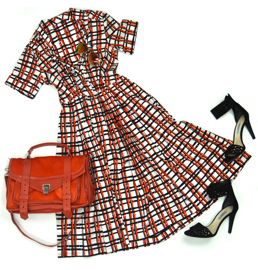 Gucci dress, Proenza Schouler purse, Prada heels