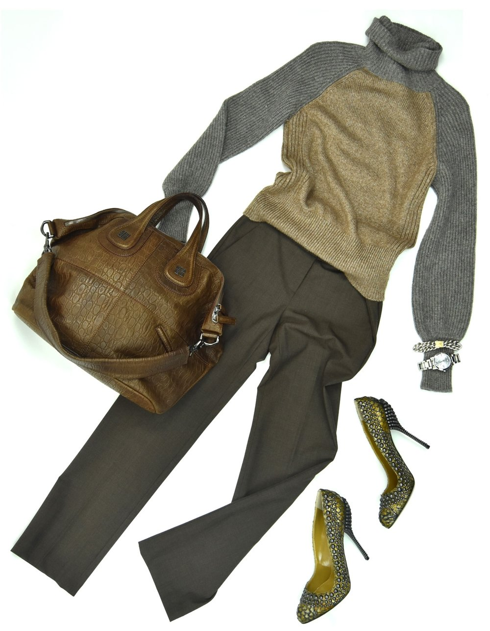 Tory Burch sweater, Theory slacks, Sergio Rossi heels, Givenchy handbag, Konstantino bracelet, Burberry watch