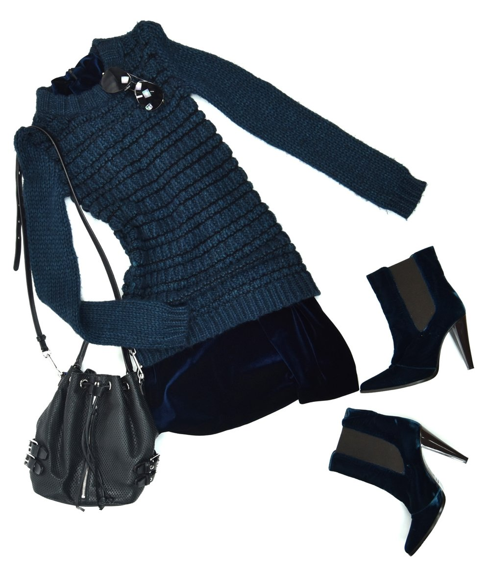 Laundry dress, Theory sweater, Jenny Kayne boots, Rebecca Minkoff handbag, Hobo aviators