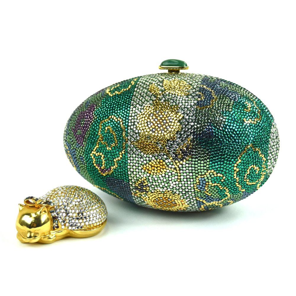 Sleeping cat pill case 1984, Emerald, purple and gold Egg clutch