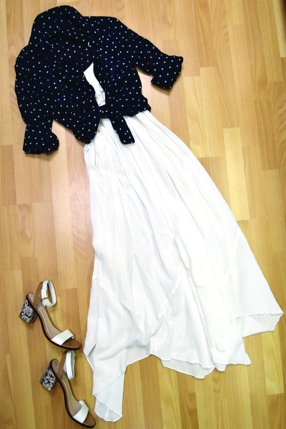 Free People dress, J. Crew blouse, Cole Haan sandals