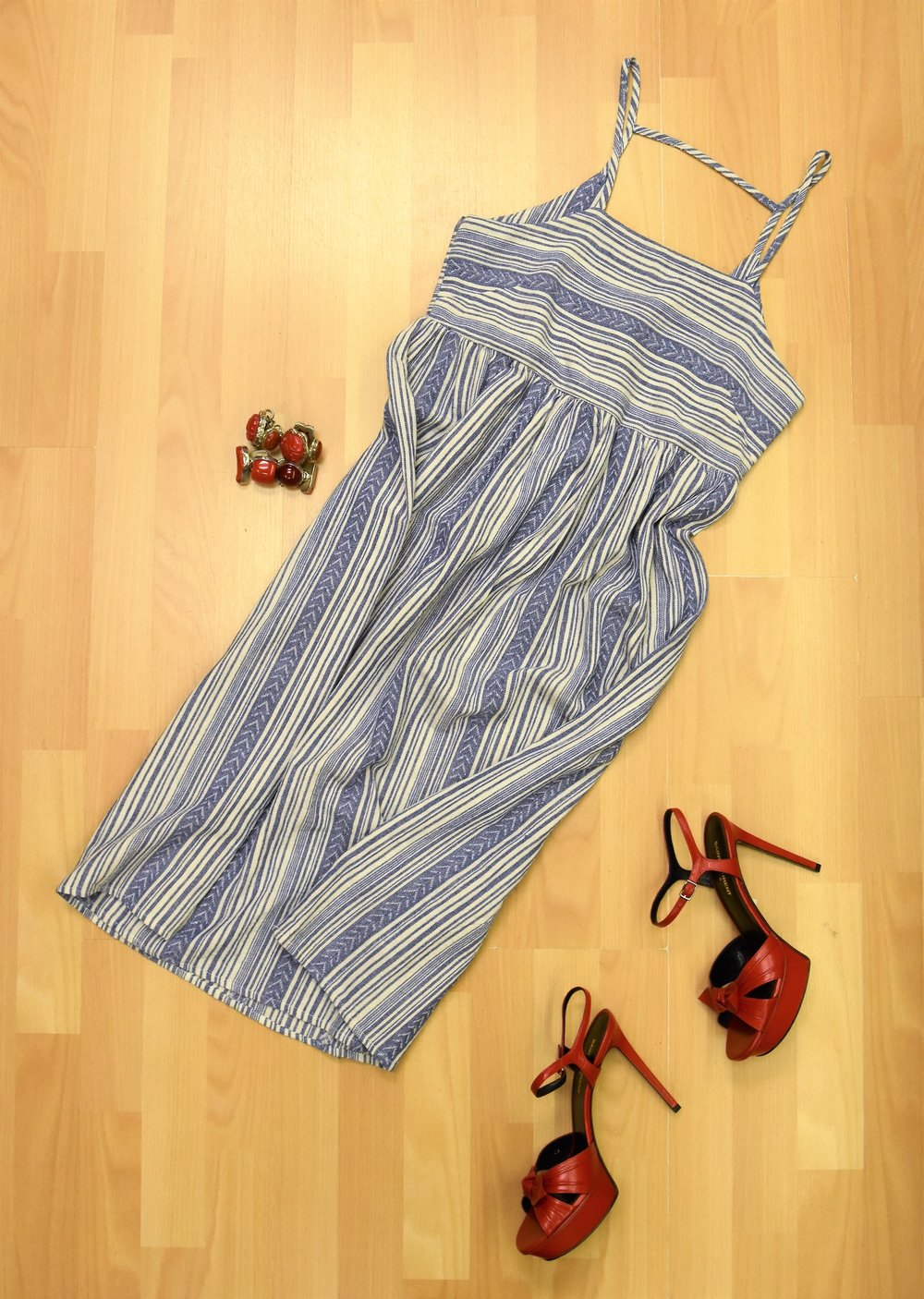 Striped dress, Saint Laurent leather sandals, coral and sterling bracelets
