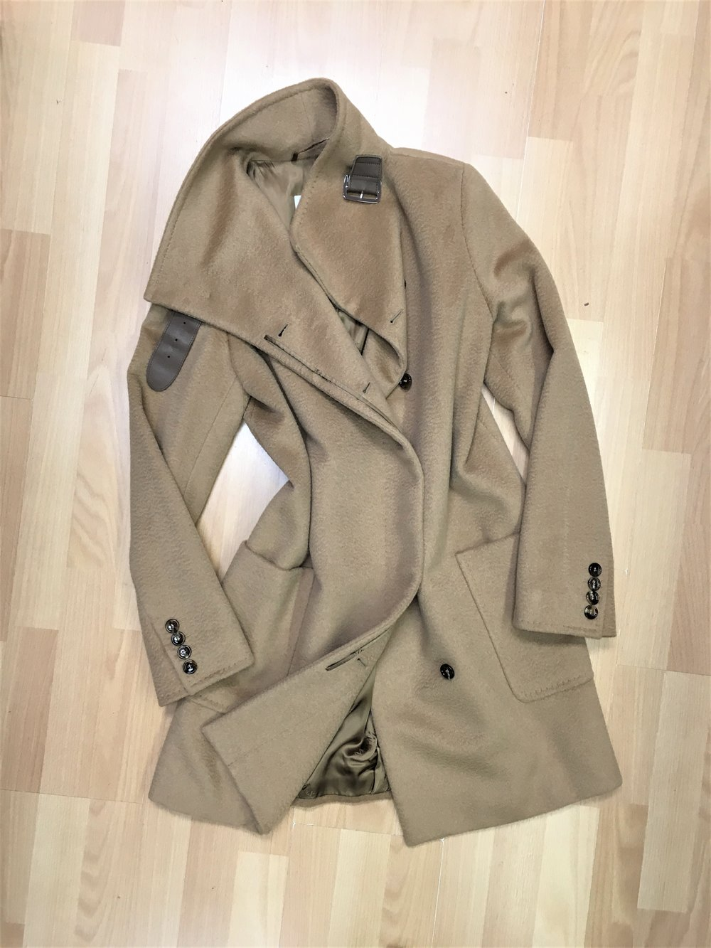 MAX MARA - Camel hair coat with buckle detail. Size 8/10, $550. (original retail: $2,800)