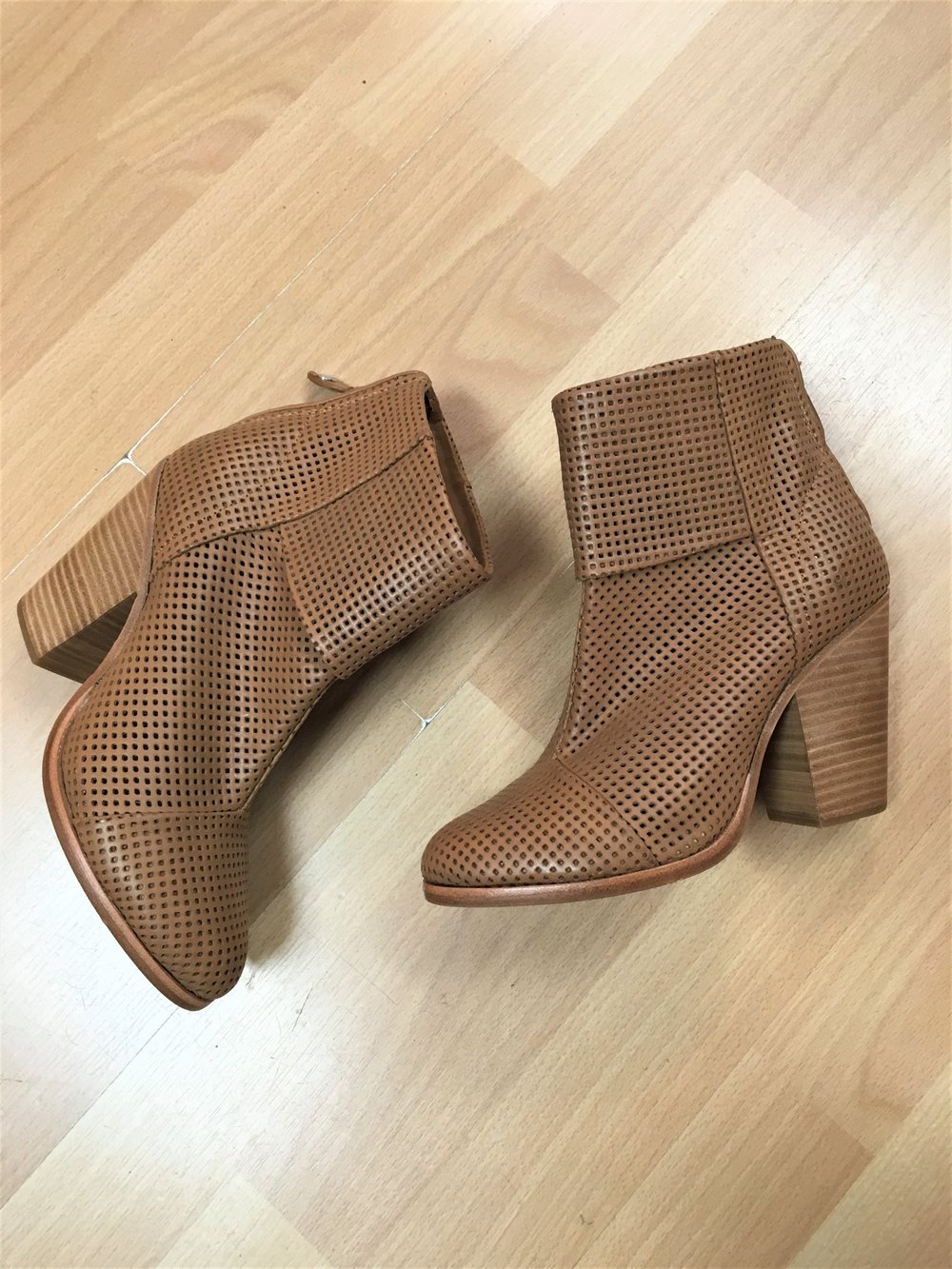 RAG & BONE - Newbury perforated leather ankle boots, size 7.5. $198
