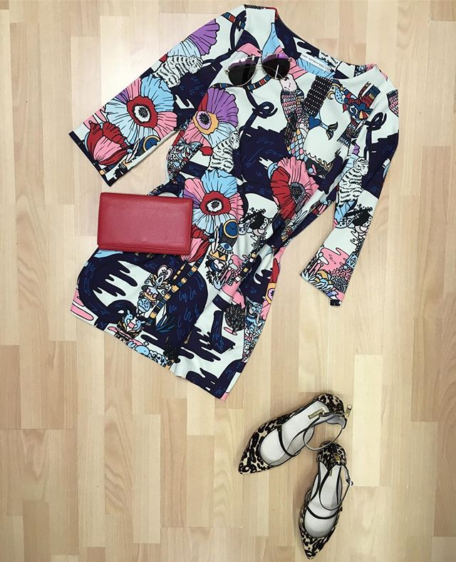 Mixed prints: @marykatrantzou printed shift dress, @louiseetcie leopard flats, @aquasw1ss sunglasses , all available online now and in stores  #marykatrantzou #louiseetcie #outfits #outfitinspo #outfit #outfitideas #outfitinspiration #fashion #fashionblogger #fashionable #style #styleinspo #stylebook #styled #newtoyouinc #shopsmall #consignment #consignmentboutique #smallbusiness