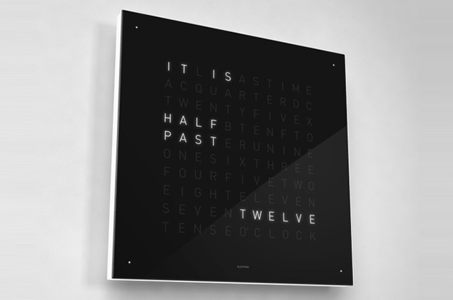 """QLOCKTWO"" by Biegert & Funk is an innovative clock that tells the time in words. The time is displayed as text in five minute intervals by illuminating certain letters on its board."