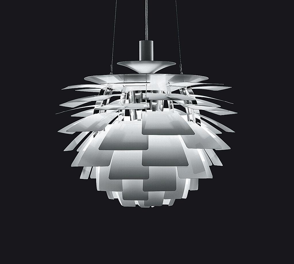 "The  PH Artichoke  is known as a ""classic masterpiece"" in the field for its timeless design. Designed in 1958 by Louis Poulsen, it is still widely used today in architecture. Something unique about the fixture is its 360 degree perfect light radiation and no matter from what angle it is viewed, the light source is never seen which prevents glare and refines the piece."